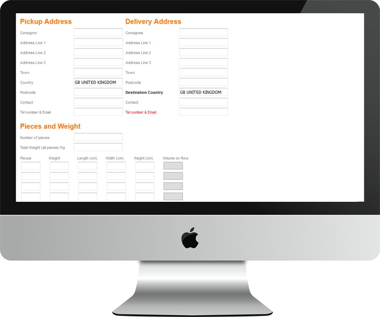 Online booking-screen